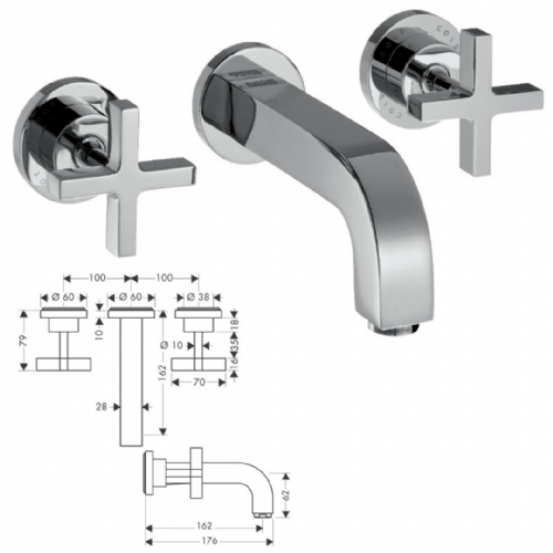 Hansgrohe Axor Citterio 3 Tap Hole Wall Mounted Basin Mixer - Model 39313000